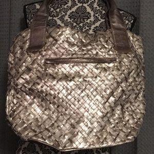 Elliott Lucca metallic braided satchel